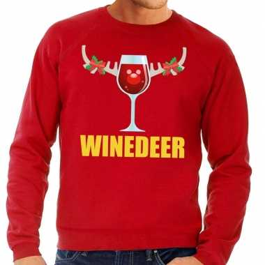 Lelijke kersttrui rood wijntje heren
