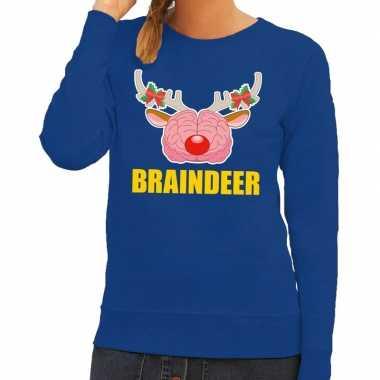 Lelijke kersttrui / sweater braindeer blauw dames