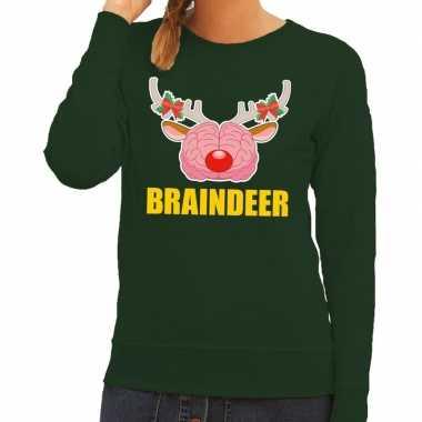 Lelijke kersttrui / sweater braindeer groen dames