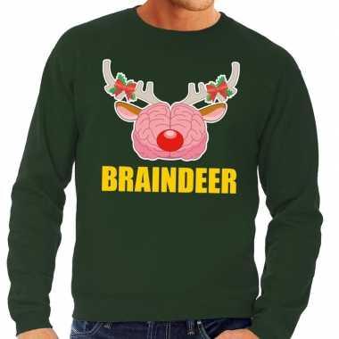 Lelijke kersttrui / sweater braindeer groen heren