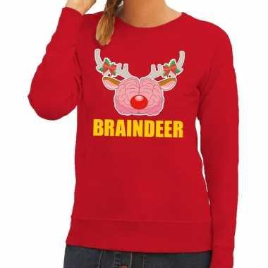 Lelijke kersttrui / sweater braindeer rood dames