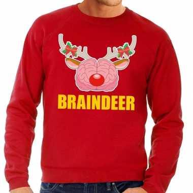 Lelijke kersttrui / sweater braindeer rood heren