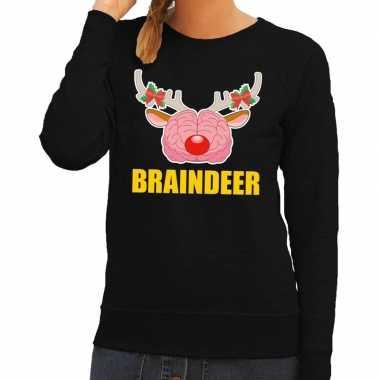 Lelijke kersttrui / sweater braindeer zwart dames