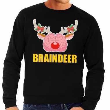 Lelijke kersttrui / sweater braindeer zwart heren
