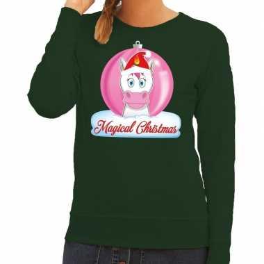 Lelijke kersttrui / sweater eenhoorn magical christmas groen dames