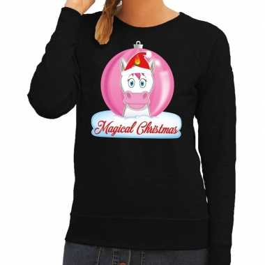 Lelijke kersttrui / sweater eenhoorn magical christmas zwart dames