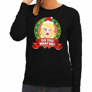 Lelijke kersttrui zwart do you want me dames