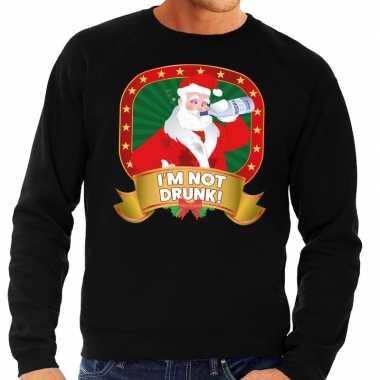 Lelijke kersttrui zwart dronken kerstman drankfles heren