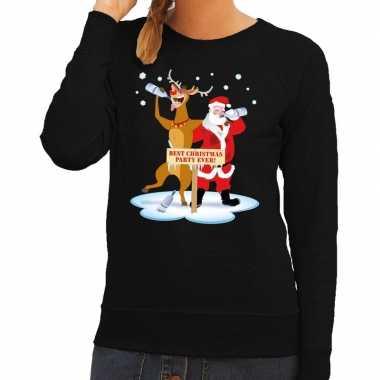 Lelijke kersttrui zwart een dronken kerstman rudolf dames