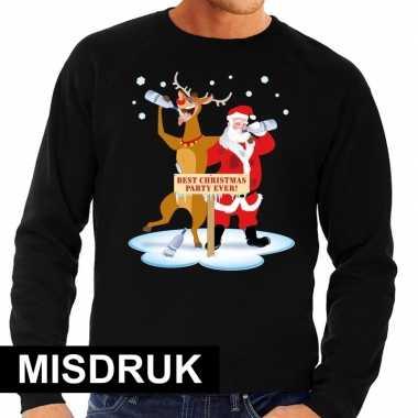 Lelijke kersttrui zwart een dronken kerstman rudolf heren misdruk