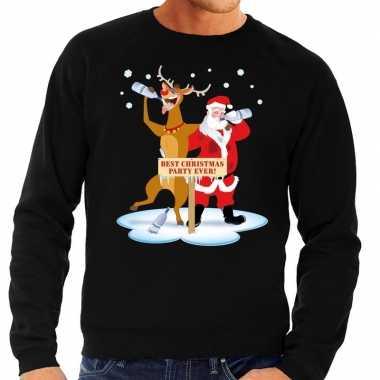 Lelijke kersttrui zwart een dronken kerstman rudolf heren