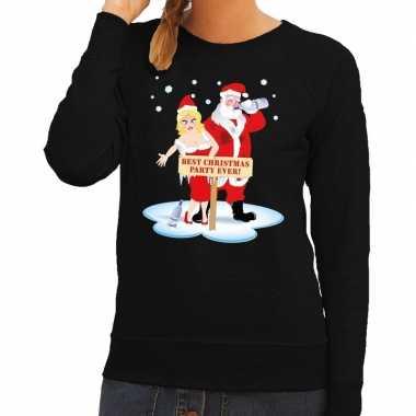 Lelijke kersttrui zwart een dronken kerstman zijn vrouw dames
