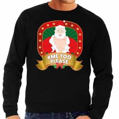 Lelijke kersttrui zwart horny kerstman me please heren