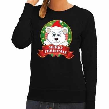 Lelijke kersttrui zwart ijsbeertje dames