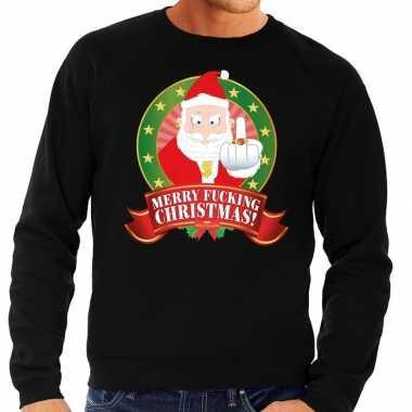 Lelijke kersttrui zwart kerstman middelvinger merry fucking christmas