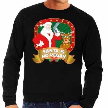 Lelijke kersttrui zwart kerstman pistool heren