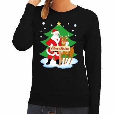 Lelijke kersttrui zwart kerstman rudolf dames