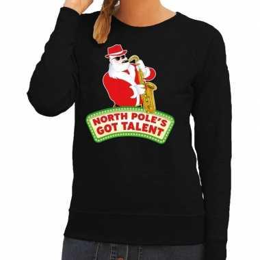 Lelijke kersttrui zwart kerstman saxofoon dames