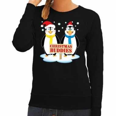 Lelijke kersttrui zwart pinguins dames