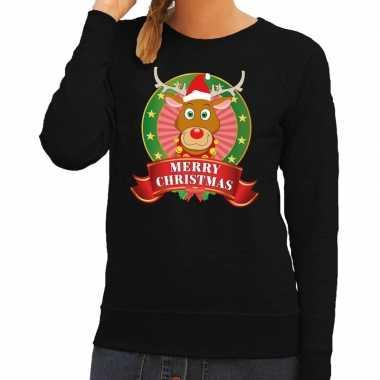 Lelijke kersttrui zwart rudolf rendier dames
