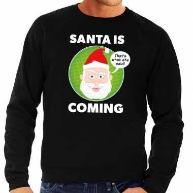 Lelijke kersttrui zwart santa is coming heren