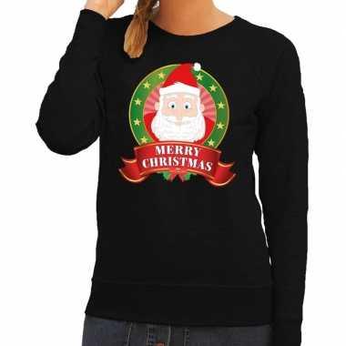 Lelijke kersttrui zwart santa merry christmas dames