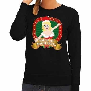 Lelijke kersttrui zwart touch my jingle bells dames