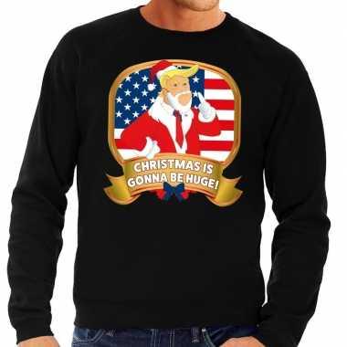 Lelijke kersttrui zwart trump christmas is gonne be huge heren