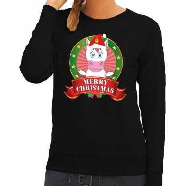 Lelijke kersttrui zwart unicorn dames