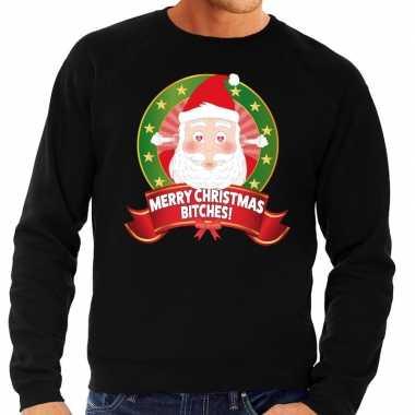 Lelijke kersttrui zwart verliefde kerstman heren