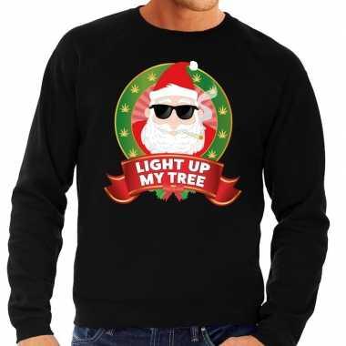 Lelijke kersttrui zwart wiet rokende kerstman light up my tree heren