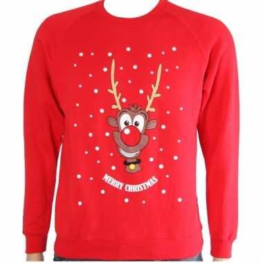 Lelijke kinder kersttrui rood rendier