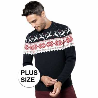 Plus size navy/witte lelijke/lelijke gebreide kersttrui noorse print