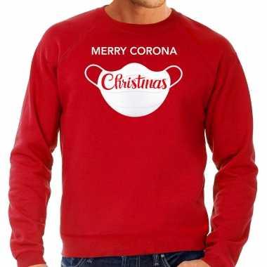 Rode kersttrui / kerstkleding merry corona christmas heren grote maten
