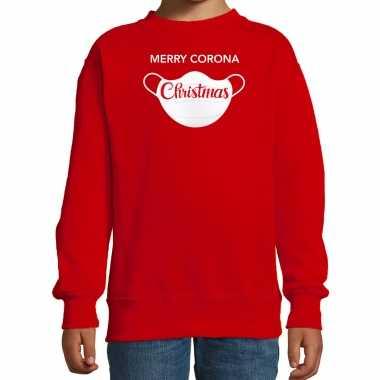 Rode kersttrui / kerstkleding merry corona christmas kinderen