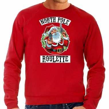 Rode kersttrui / kerstkleding northpole roulette heren grote maten