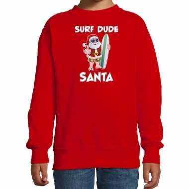 Rode kersttrui / kerstkleding surf dude santa kinderen