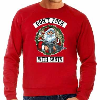 Rode lelijke kersttrui / kerstkleding dont fuck with santa heren grote maten