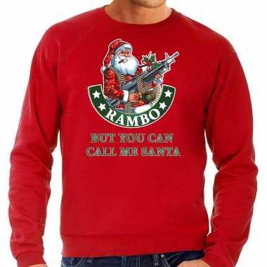 Rode lelijke kersttrui / kerstkleding rambo but you can call me santa heren grote maten
