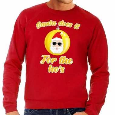 Rode lelijke kersttrui kerstman does it for the ho's heren