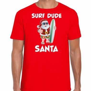 Rood kersttrui / kerstkleding surf dude santa heren