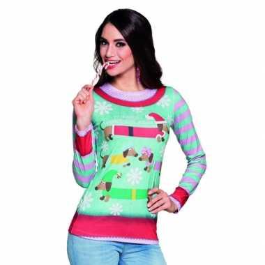 Verkleed t trui kerstprint dames