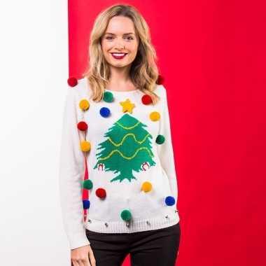 Witte kerst sweater kerstboom dames