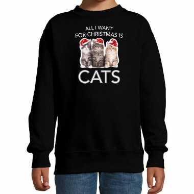 Zwarte kersttrui / kerstkleding all i want for christmas is cats kinderen
