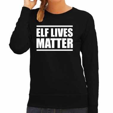 Zwarte kersttrui/ kerstkleding elf lives matter dames