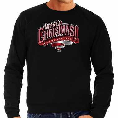 Zwarte kersttrui / kerstkleding merry christmas heren