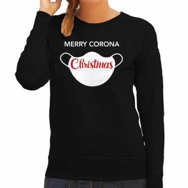 Zwarte kersttrui / kerstkleding merry corona christmas dames
