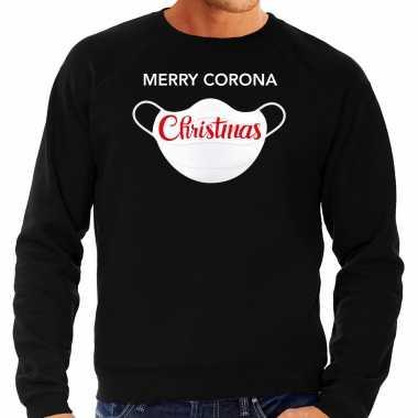 Zwarte kersttrui / kerstkleding merry corona christmas heren grote maten