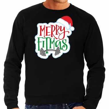 Zwarte kersttrui / kerstkleding merry fitmas heren