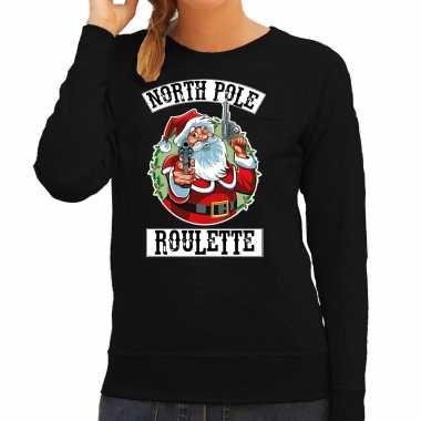 Zwarte kersttrui / kerstkleding northpole roulette dames
